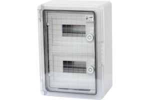 Шкаф ударопрочный модульный ABS 250х350х150, 8х2 модулей,с прозрачной дверцей  IP65