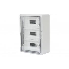 Шкаф ударопрочный модульный ABS 350x500x190, 12х3 модулей,с прозрачной дверцей IP65
