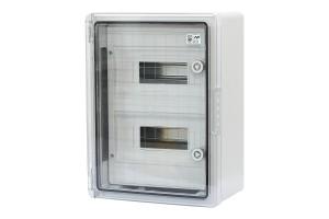 Шкаф ударопрочный модульный ABS 300x400x170, 12х2 модулей,с прозрачной дверцей, IP65