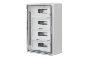 Шкаф ударопрочный модульный ABS 400x600x200, 15x4 модулей,с прозрачной дверцей, IP65