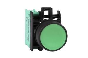 Кнопка управления для монтажа на панель, щиток. Зеленый