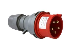 Силовая вилка переносная 5п, 16A, 380В IP44