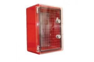 Шкаф ударопрочный красный ABS 300X400X220 МП, с прозрачной дверцей